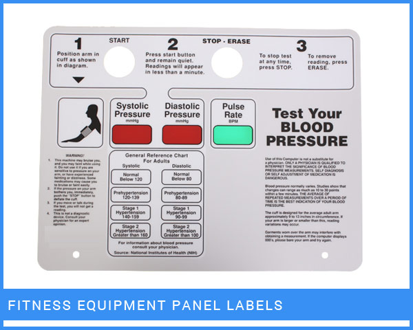 Fitness Equipment Panel Labels
